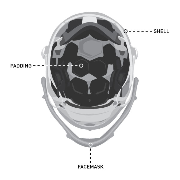 product graphic showing inside of football helmet