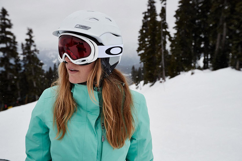 A woman wearing snow goggles