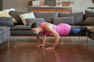 Woman Doing Push-up Inside House