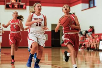A girls' basketball game.