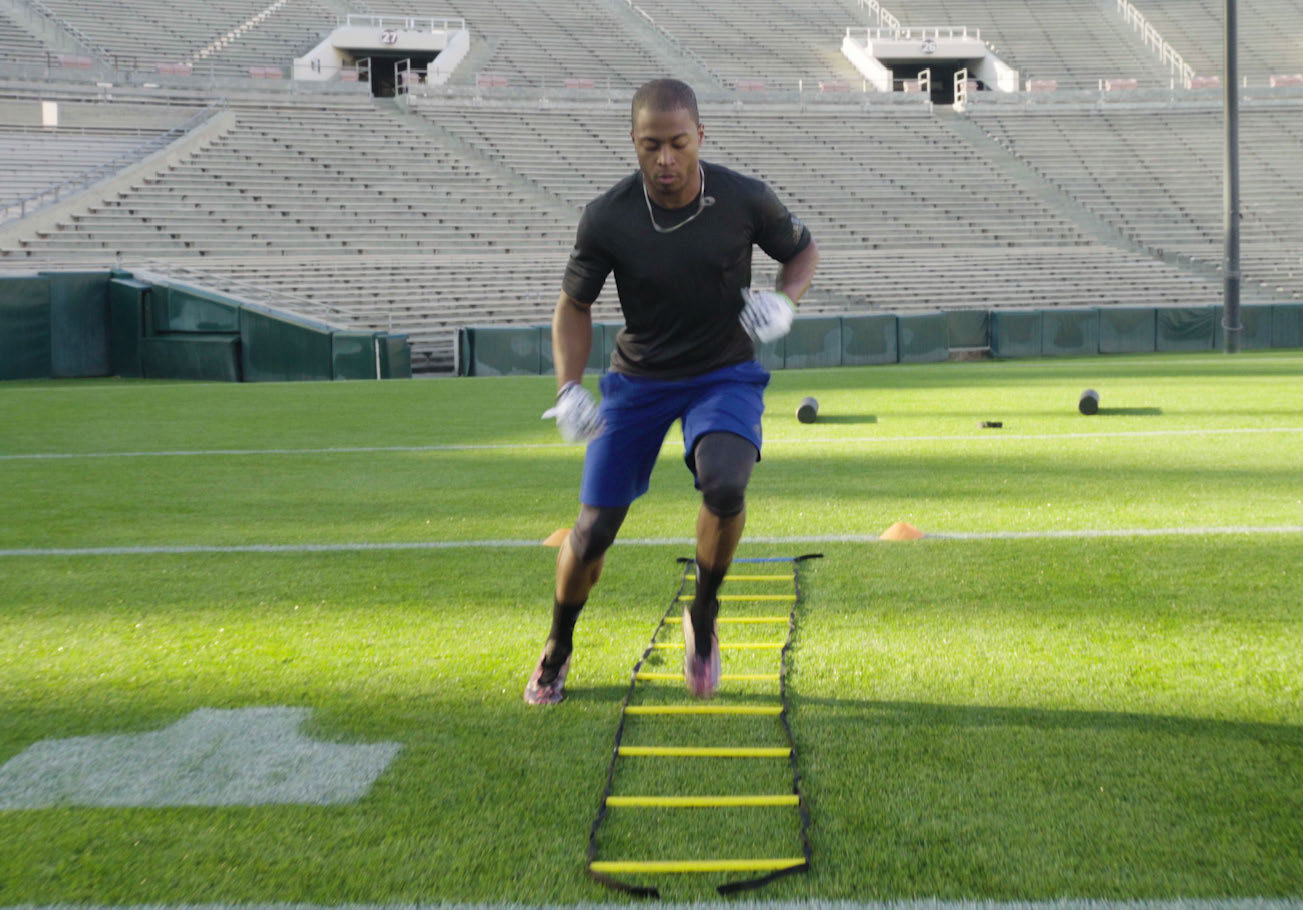 lateral quick foot movement with ladder drill