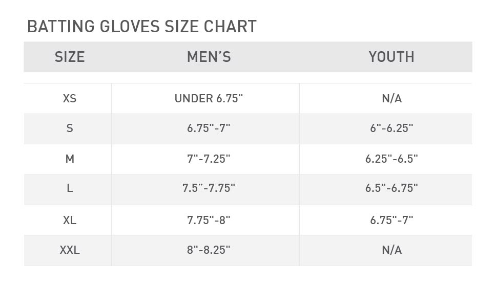 baseball batting gloves size chart