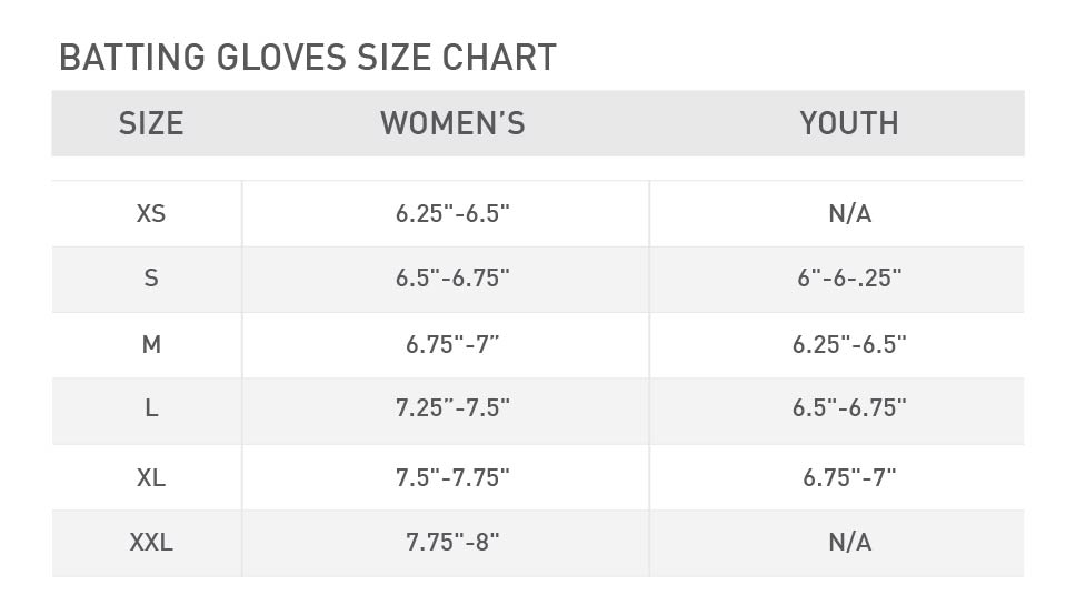 softball batting gloves size chart