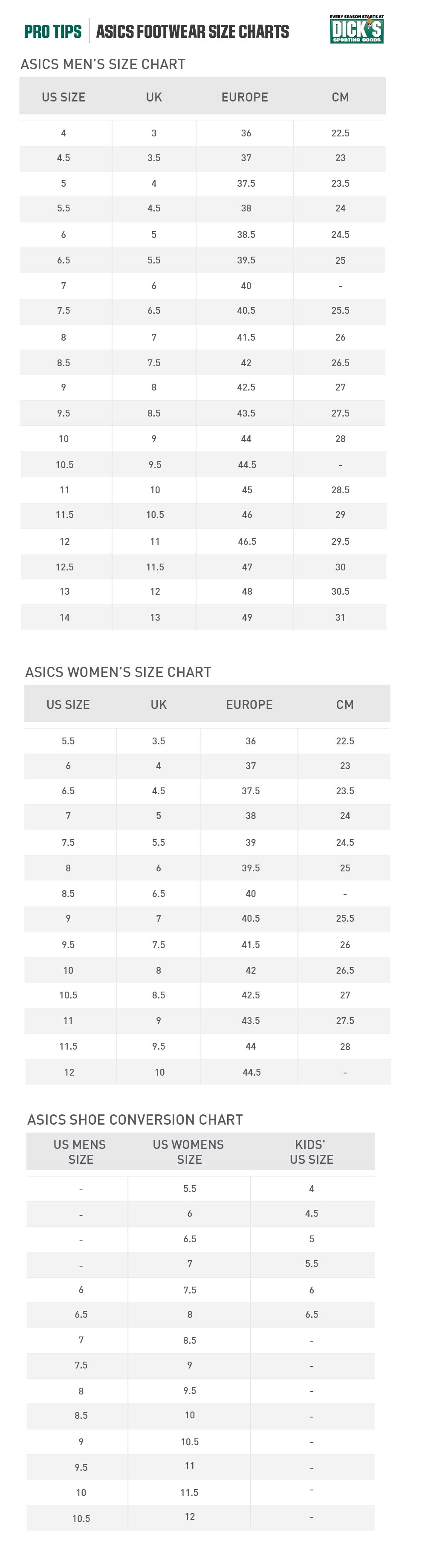 ASICS Footwear Size Chart | PRO TIPS by