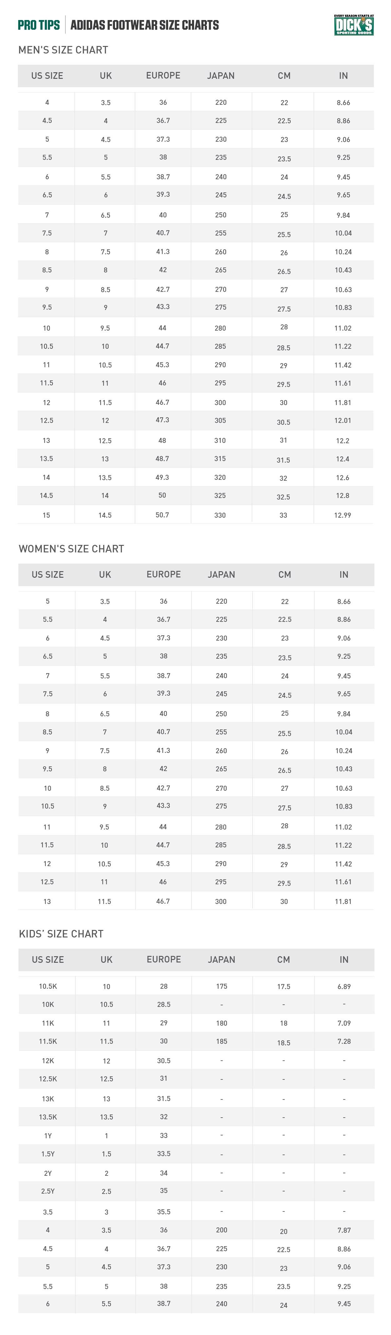 adidas® Footwear Size Chart | PRO TIPS