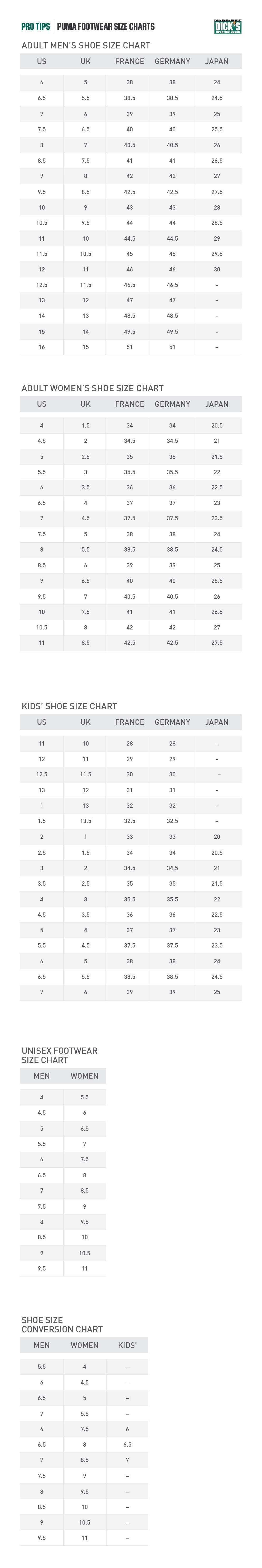 puma footwear size charts