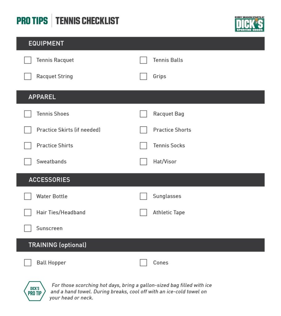 what you need for tennis, tennis checklist