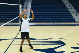 male volleyball player of setting a back row attack