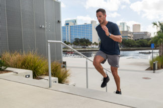 man running steps for workout