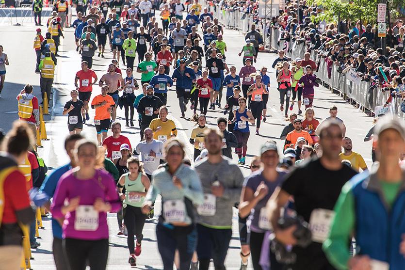 crowd of people running a marathon