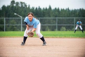softball infielder pre-pitch