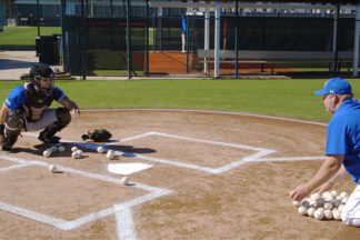 Baseball Catcher Practicing Drill