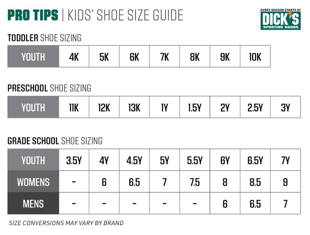 size chart showing kids shoe sizes
