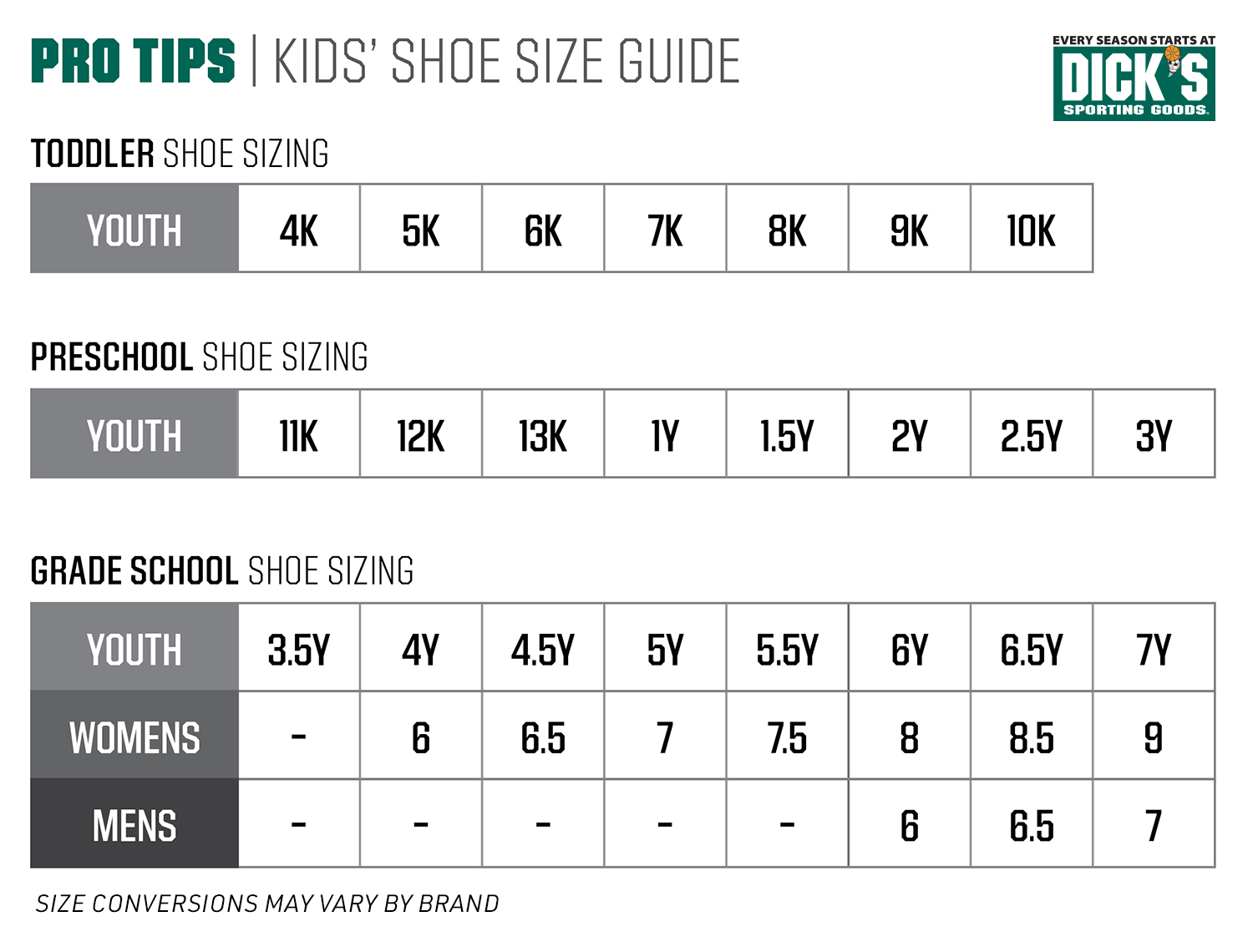 The Pro Tips Guide To Kids Shoe Sizes Pro Tips By Dick S Sporting Goods