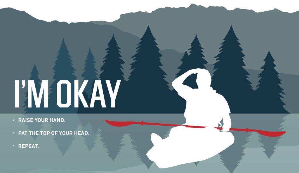 infographic of kayak hand signal for i'm okay