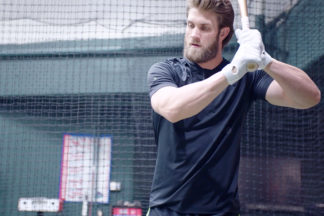 Professional Baseball Player Bryce Harper In Batting Cage