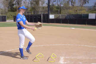Softball Pitcher Practicing Hurdle Drill