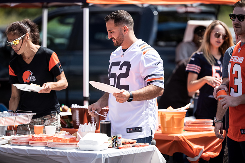Cleveland Browns fans at a tailgate before a game