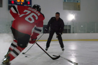 Professional Hockey Player P.K. Subban Skating Against Partner In Practice