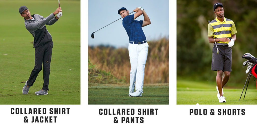 options of men's golf apparel to wear on the golf course