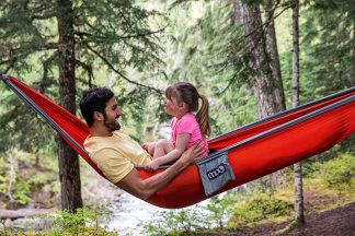 Father And Daughter Sitting In Hammock