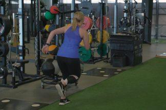 Athlete Performing Diagonal Bounds
