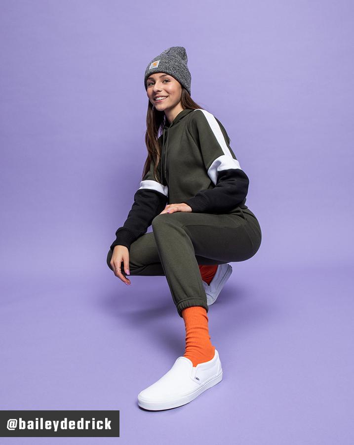 Bailey Dedrick wearing DSG Fleece Rib Hoodie, Cinched Hem Pants and Vans Classic Slip-On Shoes.