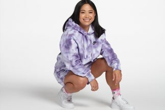 nike hoodie and shorts with purple tie-dye