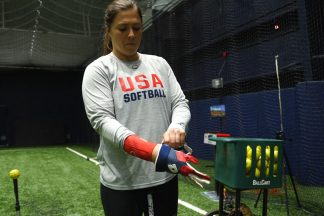 "Amanda ""chiddy"" Chidester in USA Softball gear"