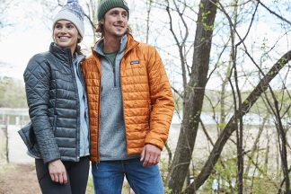 man and woman wearing Patagonia winter jackets